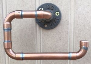 COPPER PIPE TOILET ROLL HOLDER - Vintage/ Industrial/ Modern