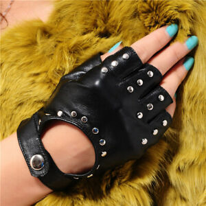 Black Fingerless Glove With Skull Detail Punk Rocker Biker Fancy Dress