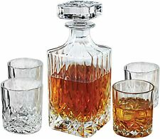 Fitz and Floyd Portland Wine Bourbon Whisky, 24oz, 5 PIECE Glass Decanter SET