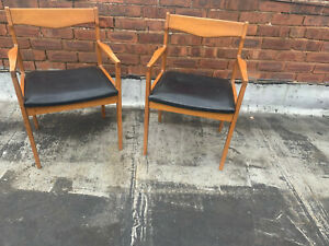 Set-Of-Two-Mid-Century-Vintage-Danish-Style-Armchairs-1960s-70s