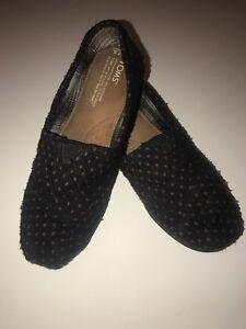 TOMS-Women-s-Wool-Fabric-Dark-Navy-Blue-Purple-Polka-Dot-Slip-On-Shoes-Sz-7-1-2