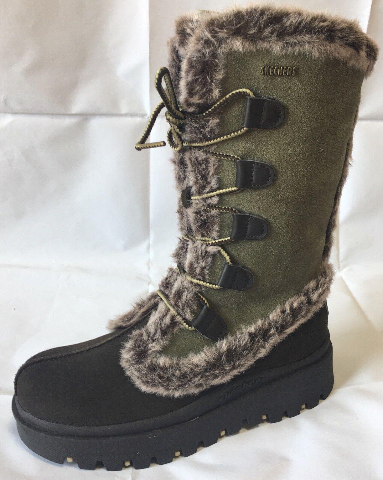 WOMEN'S SKECHERS SHINDING FROLIC FAUX FUR LINED WARM WINTER SNOW BOOT Sz US 6.5