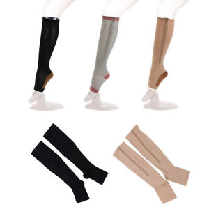 Zipper-Medical-15-20-mmHg-Compression-Socks-Knee-High-Open-Toe-Leggings-New