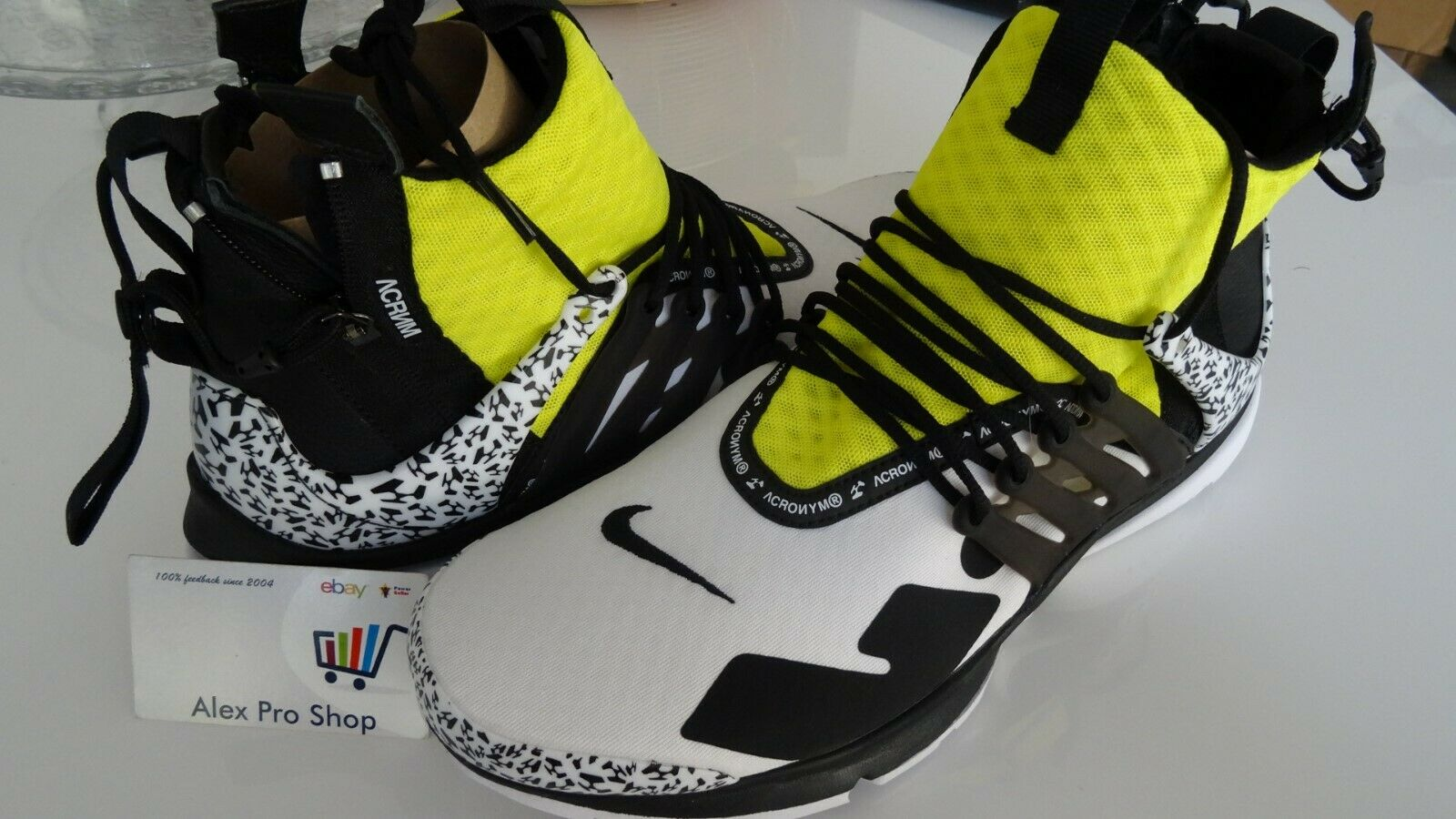 New Men's Sz14 Nike Air Presto Mid ACRONYM White Black Dynamic Yellow AH7832-100