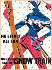 All Fun Boston & Maine Snow Train Vintage Railroad Travel Advertisement Poster