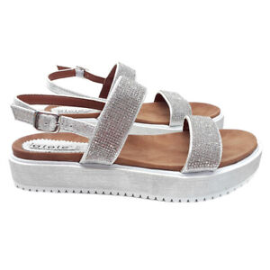 Details about Sandals Low Silver Comfortable Band with Rhinestone GC1739 Silver