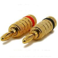 5 Pair Speaker Wire Banana Plugs Gold Plated Audio Connectors - 10 Pcs Lot Pack
