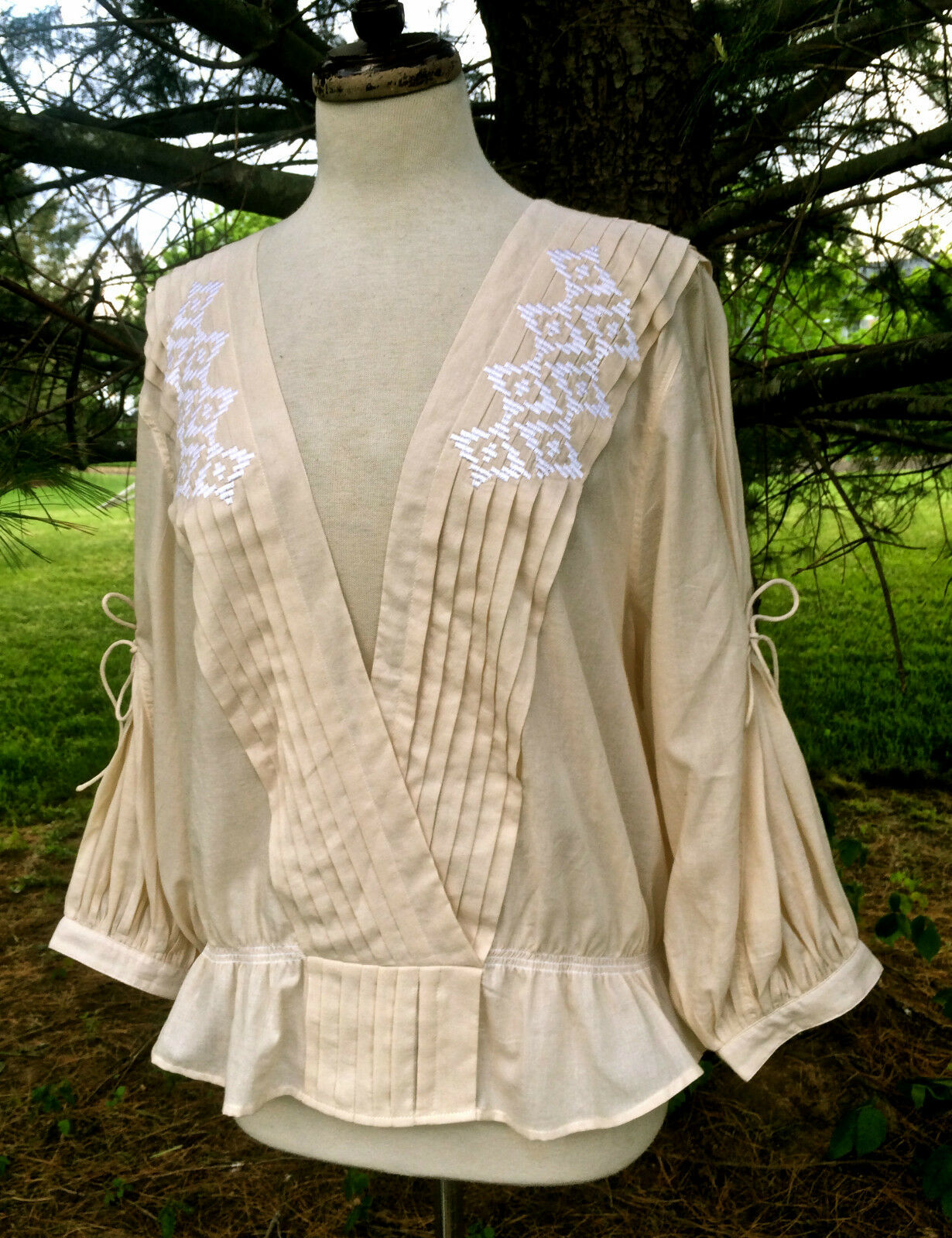 NEW Free People ivory NR Crazy Little Thing Top embroidery peplum  M