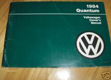1984 Vw Volkswagen Quantum Owners Manual
