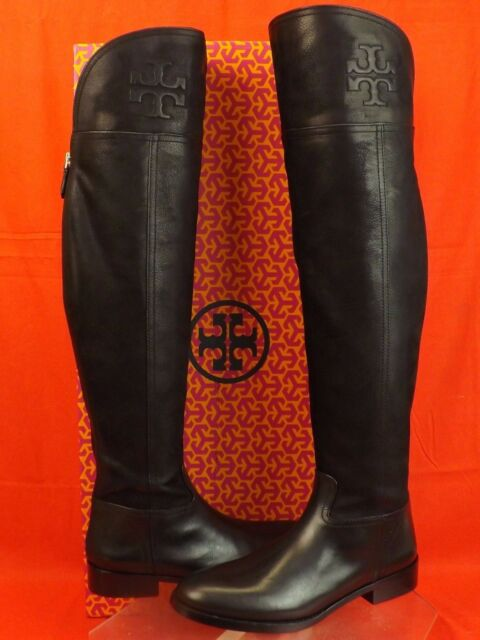 49f80fd15dc NIB TORY BURCH SIMONE BLACK LEATHER OVER THE KNEE SPLIT REVA RIDING BOOTS 9