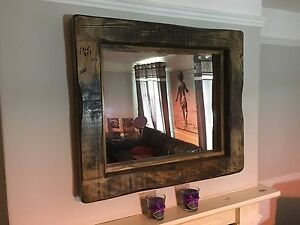 Details About Mirror Large Rustic Reclaimed Wood Bespoke Service Available Dark Oak Wax
