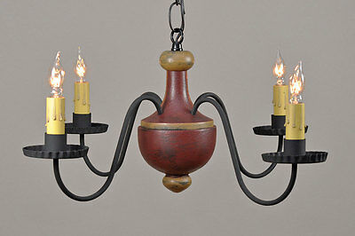 4-arm Woodspun Country Farmhouse Chandelier in Distressed Barn Red over Black