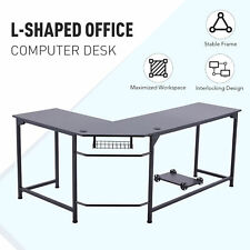 L Shaped Computer Desk W Tower Shelf Cable Management 66x19 47x19 Sides Black