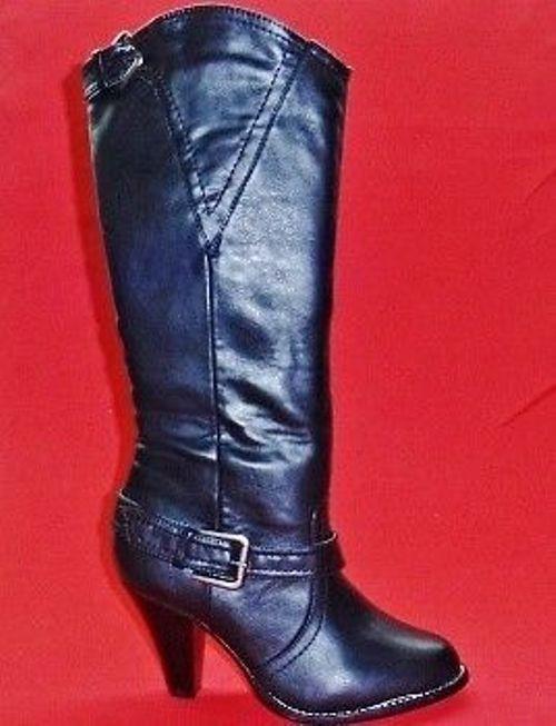 NEW Women's RAMPAGE IVELISSE Black Buckle Knee High Heels Fashion Dress Boots
