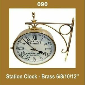 Outdoor-Nautical-Station-Wall-Clock-10-039-039-Brass-Made-Roman-Number