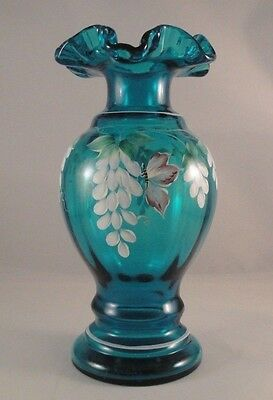 "FENTON Art Glass Vase Wisteria Blue Lenox 8.5"" Exclusive Painted Signed Russell"