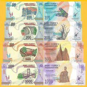 Madagascar-Set-100-200-500-1000-Ariary-2017-UNC-Banknotes