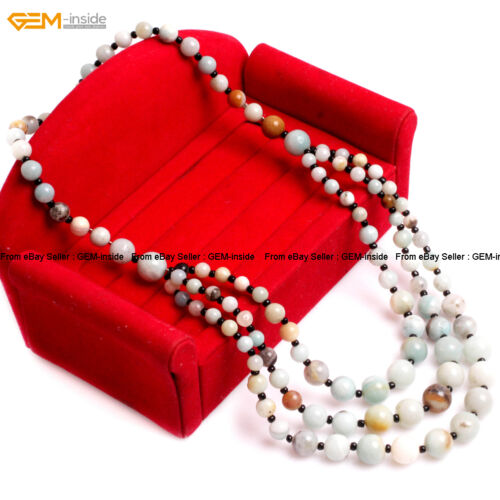 """8-12mm Stone Beads Jewelry Beaded Princess Necklace For Mom 19/""""  With Gift Box"""