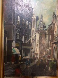 Originale-Olio-Pittura-San-Peter-Porta-Guernsey-High-Street-1960-039-s-De