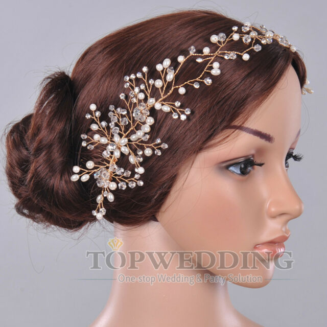 Gold Flower Chain Bridal Tiara Rhinestones Crystal Headband Hair Accessory NEW