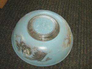 Vintage Antique givré bleu clair en verre lampe de plafond luminaire abat-jour art deco