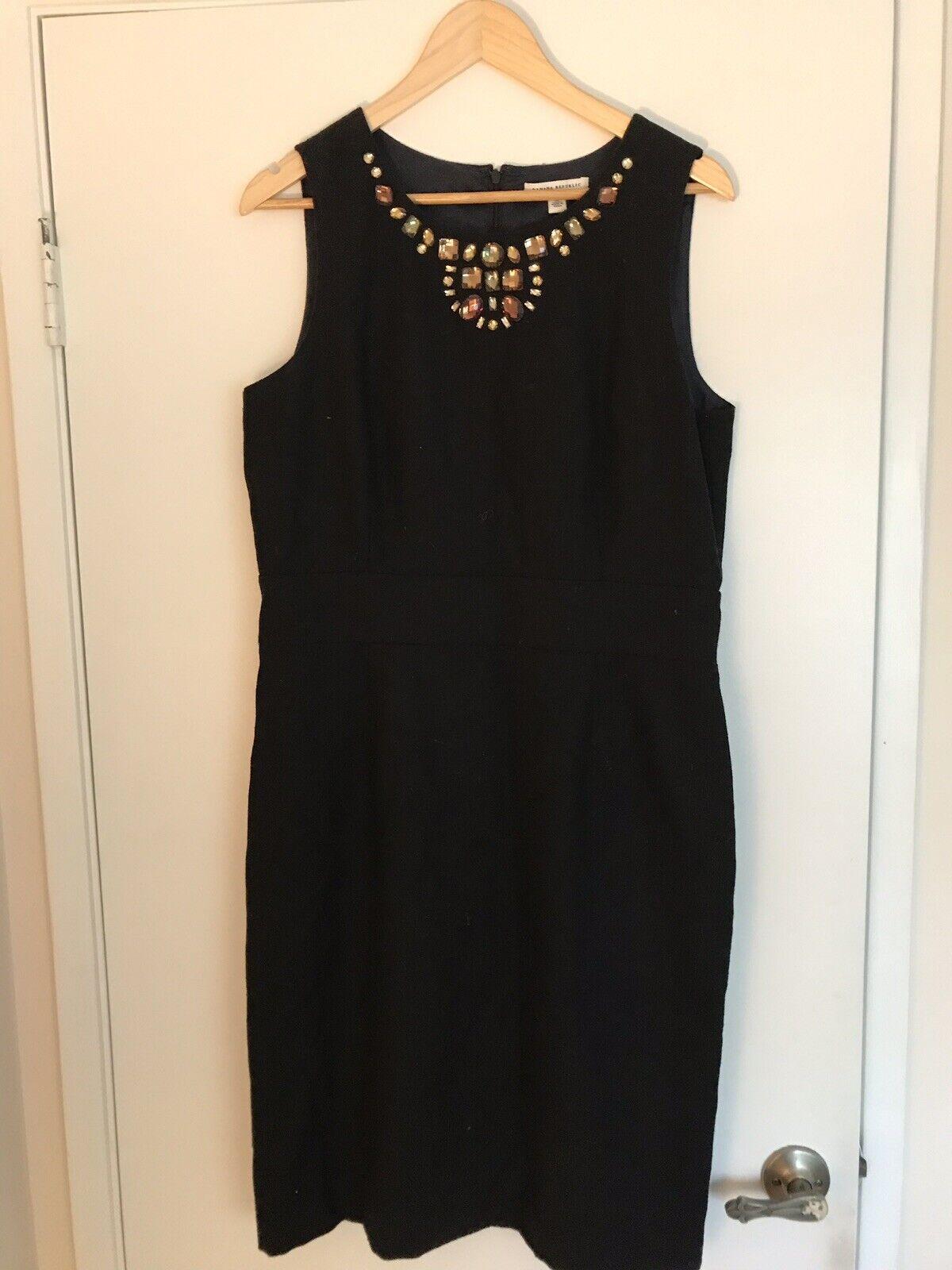 Banana Republic schwarz Wool Sheath Dress Größe 14