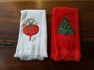 Christmas tree ornament embroidered applique red white hand