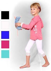 Kinderleggings-Capri-3-4-Spitze-Microfaser-Leggins-fuer-Kinder-Maedchen-Leggings