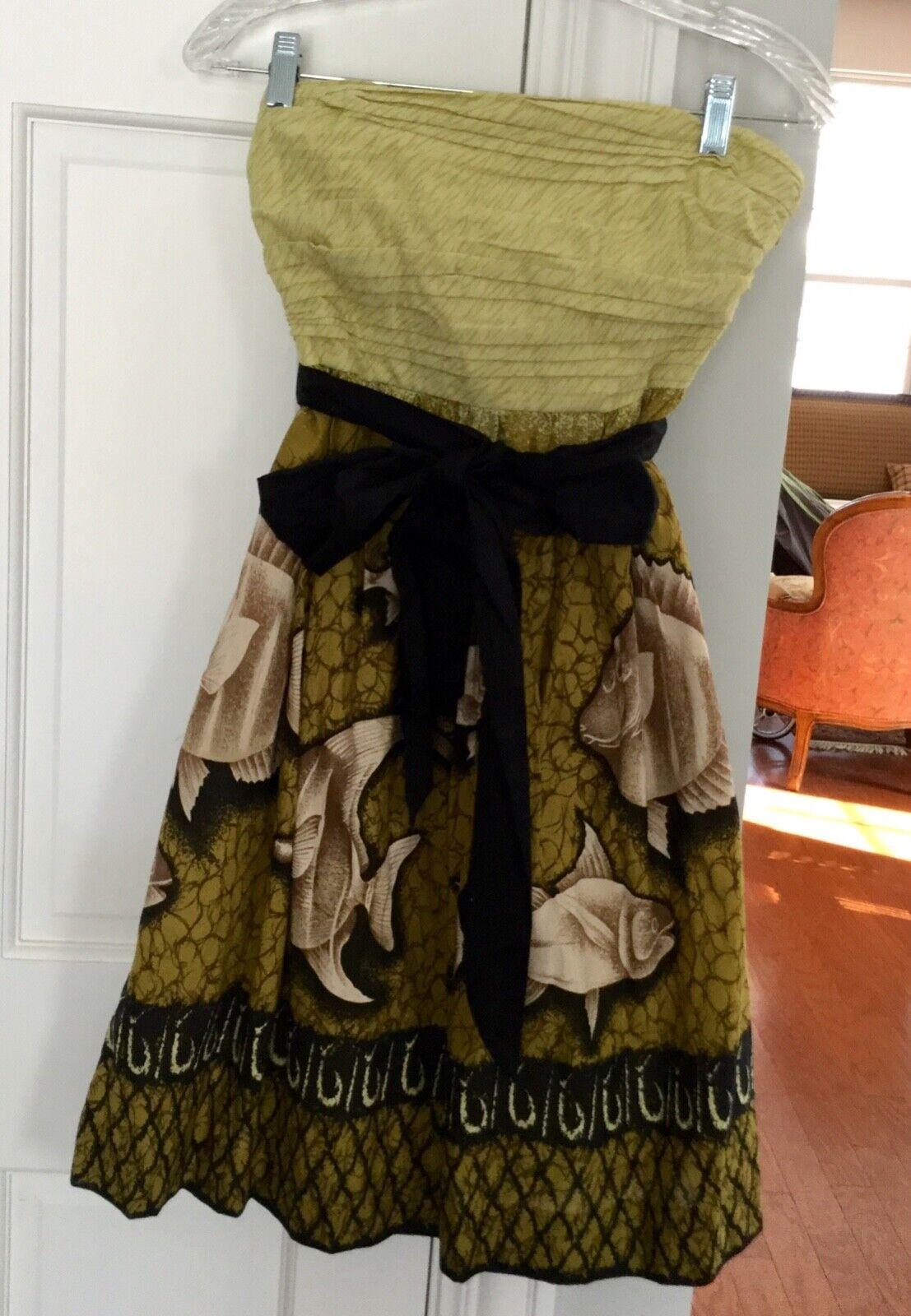 VANESSA VIRGINIA Anthropologie Strapless Dress - Size 2 - Fish Design - Belt-NEW