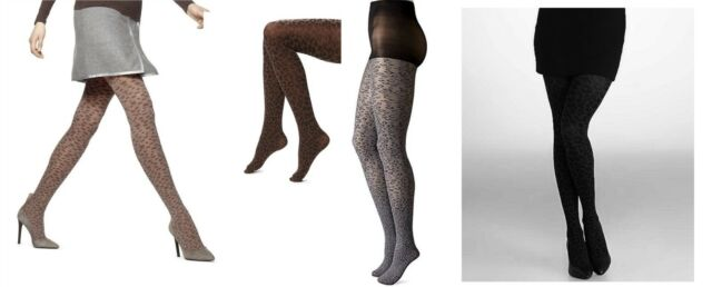 0f22aef150574 HUE Opaque Fashion Tights Control Top Leopard Graphite Heather Size ...