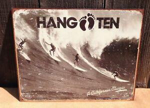HANG-TEN-California-Classic-Sign-Tin-Vintage-Garage-Bar-Decor-Old-Rustic