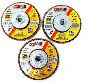 "NEW CGW 4 1//2/"" x 5//8/""-11 Z3 Zirconia 80 Grit Type 27 Flap Disc 10 Pack 42315"