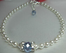 "Handmade  Something Blue Bridal Crystal Rhinestone White Pearl 8.5"" Anklet"