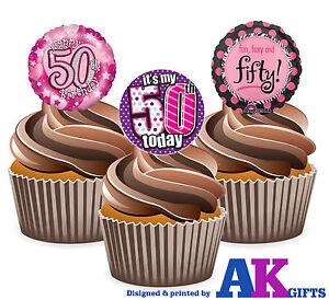 PRECUT-Happy-50th-Birthday-Pink-Balloon-12-Edible-Cupcake-Topper-Cake-Decoration