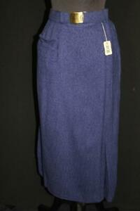 RARE-VINTAGE-1950-039-S-BLUE-DEADSTOCK-STRAIGHT-BELTED-RAYON-SKIRT-26-034-WAIST