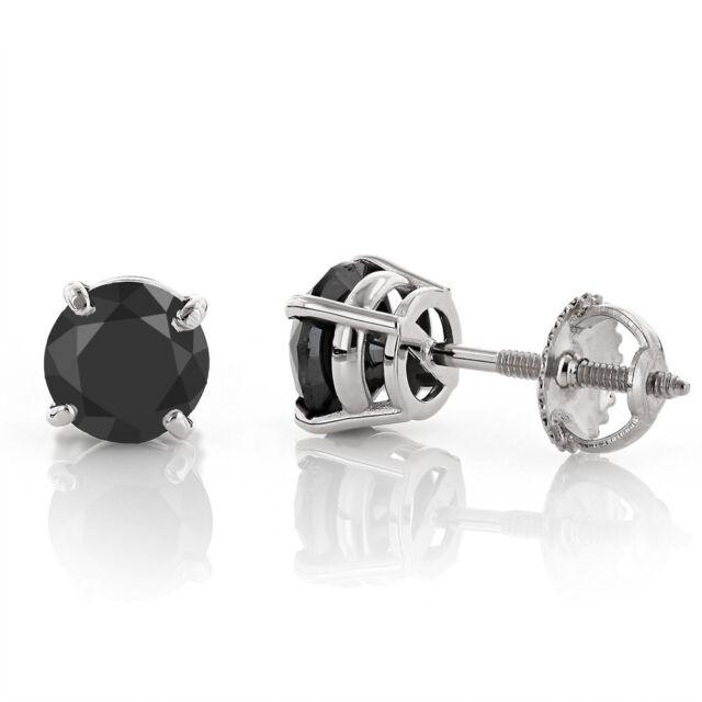 14k White Gold Over Stud Earrings Back 2 00 Ct Round Black Diamond