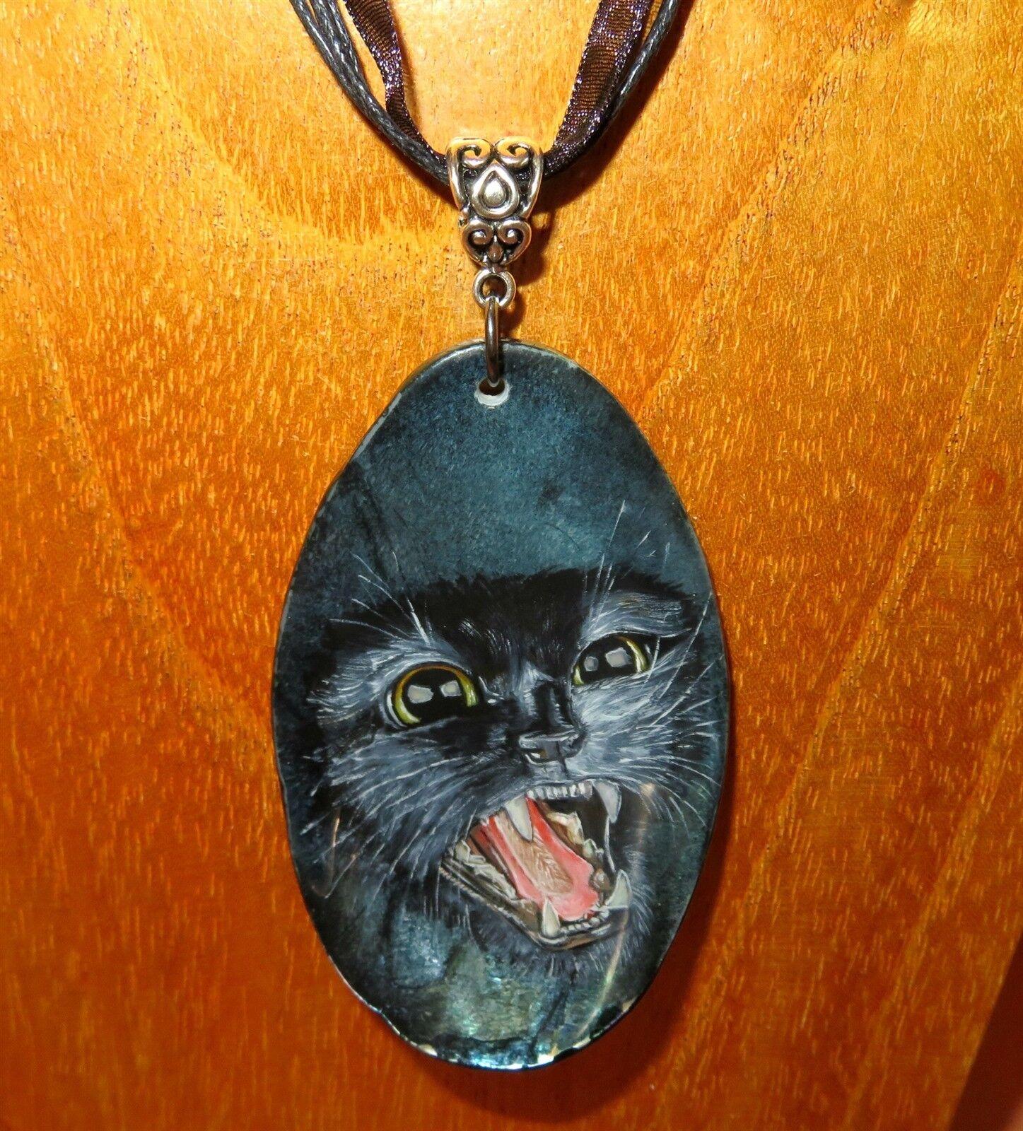 Concha Abalon Colgante Gato black Bruja Familiar Pintado a Mano Ruso Izotov