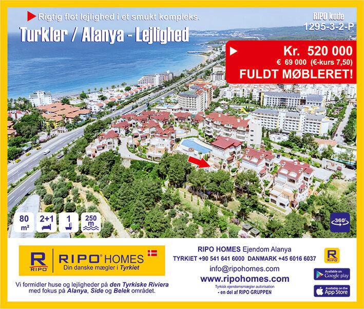 SOLGT!  Alanya Turkler - Dejlig lejlighed tæt p...
