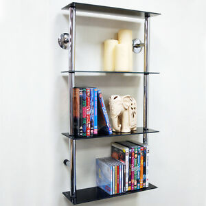 Details About Wall Mounted Gl 90 Cd 60 Dvd Storage Shelves Black Silver Ch1531s 4tblk