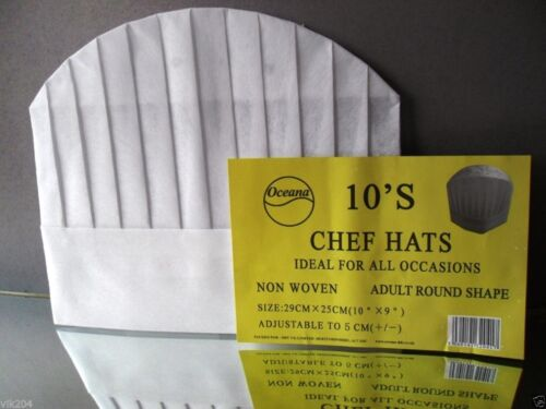 20 X NON WOVEN ADULT CHEF HATS ECO FRIENDLY FOR PARTIES HOTELS GUEST CATERING