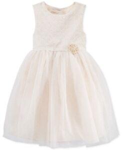 Marmellata-Little-Girls-039-Metallic-Floral-Print-Dress-Gold-Size-6X
