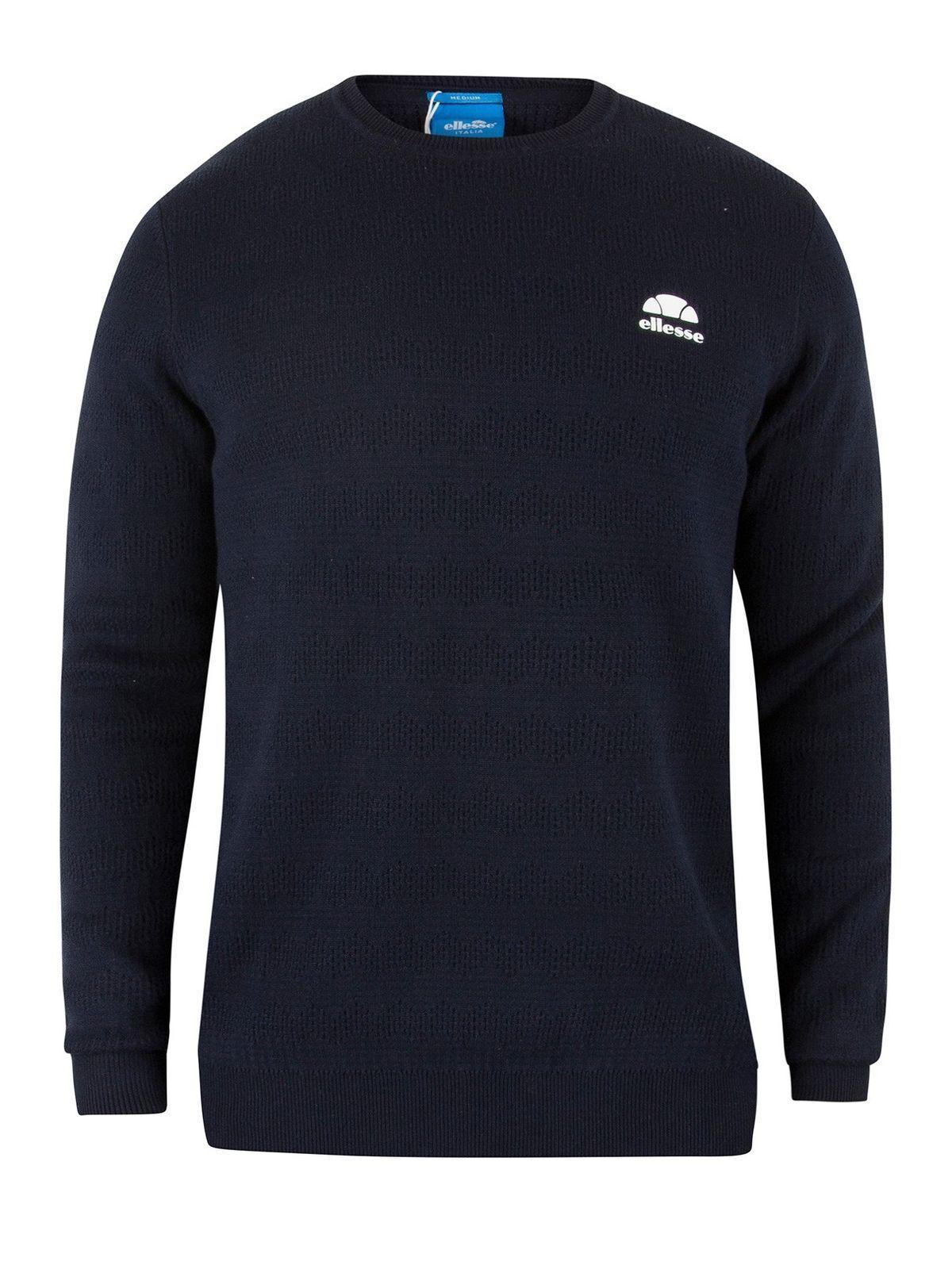 ELLESSE Men's BRINDISI Textured Italia Knit Jumper, bluee, Large