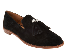 c90a587046c Franco Sarto Suede Loafers with Tassels - Hadden Black Womens Shoes ...