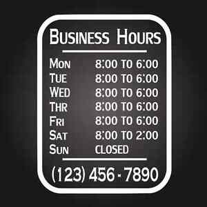 Custom Business Store Hours Vinyl Window Decal X Sticker Sign - Custom vinyl decals for glass
