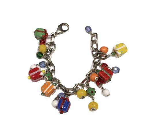 Christmas Birthday Charm Bracelet Beaded Lampwork… - image 1
