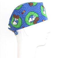 Snoopy Woodstock Christmas Theme Blue Scrub Hat