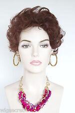 Dark Auburn Red Short Human Hair  Wavy Curly Wigs
