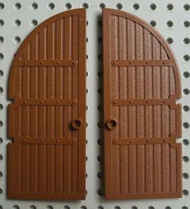 2x-LEGO-2400-Brown-Chateau-portes-vintage