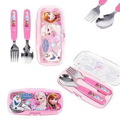 New Disney Frozen Elsa Anna Spoon & Fork & Case Flatware Utensils Mealtime