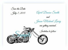 100 Personalized Custom Harley Davidson Motorcycle Wedding Save The Date Cards